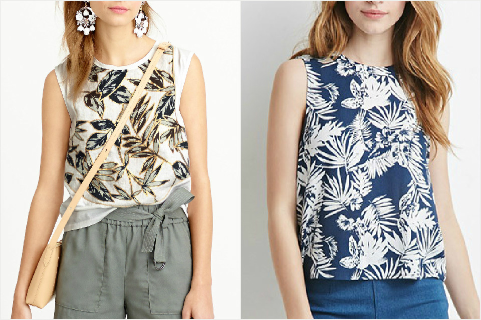 A funky tropical print top