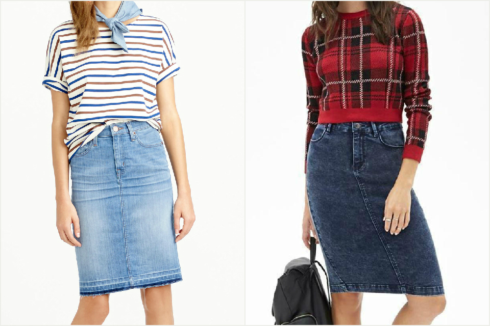 A denim pencil skirt
