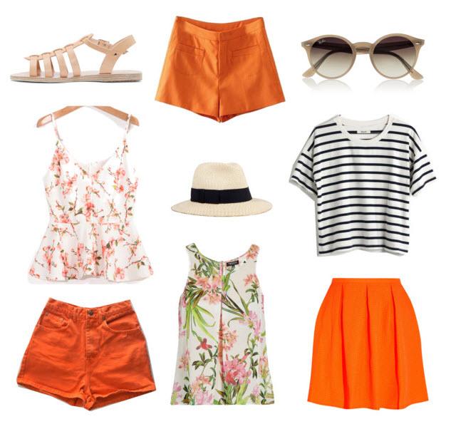 Orange shorts outfits