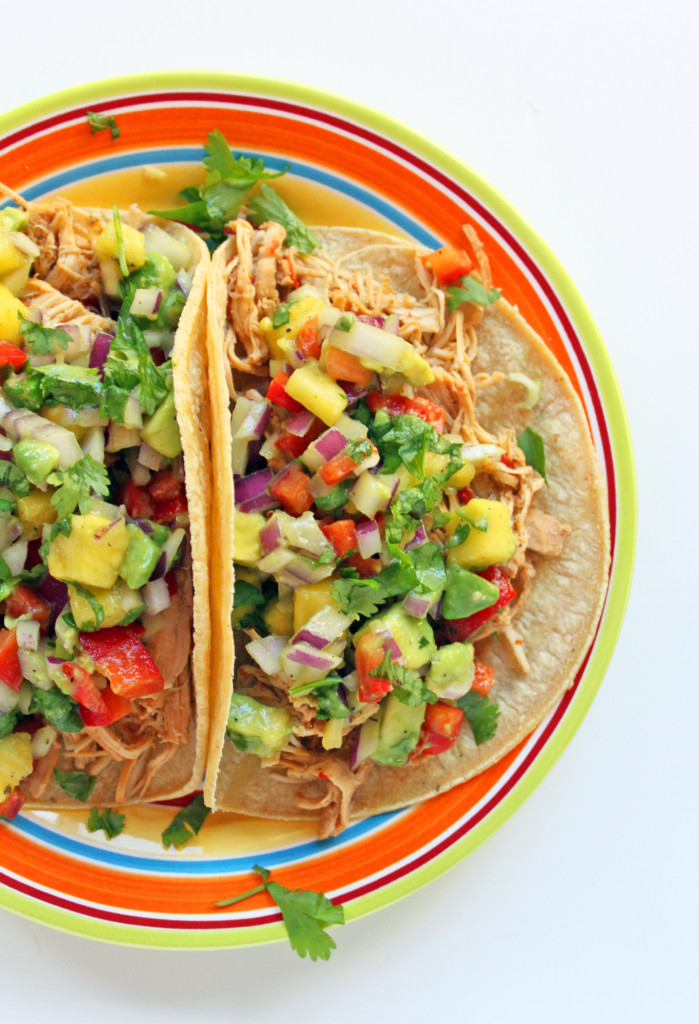 Pineapple-lime chicken soft tacos with avocado-pineapple salsa