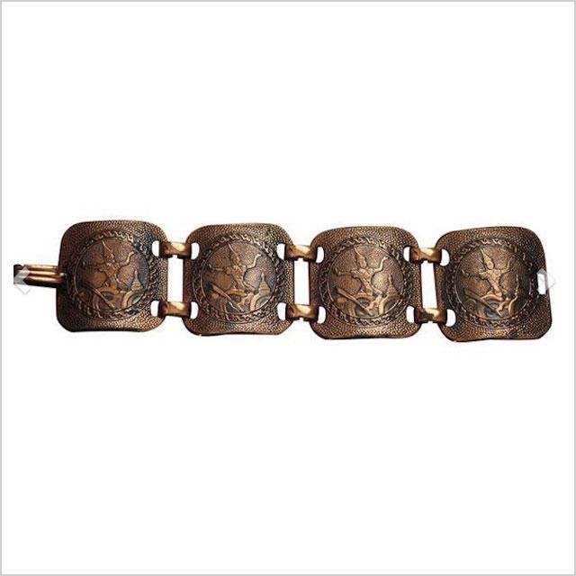 '70s Chunky Modernist Copper Deity Panel Bracelet