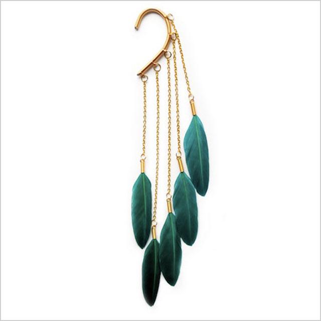 Anni Jurgenson Green Dangle Feather Ear Cuff