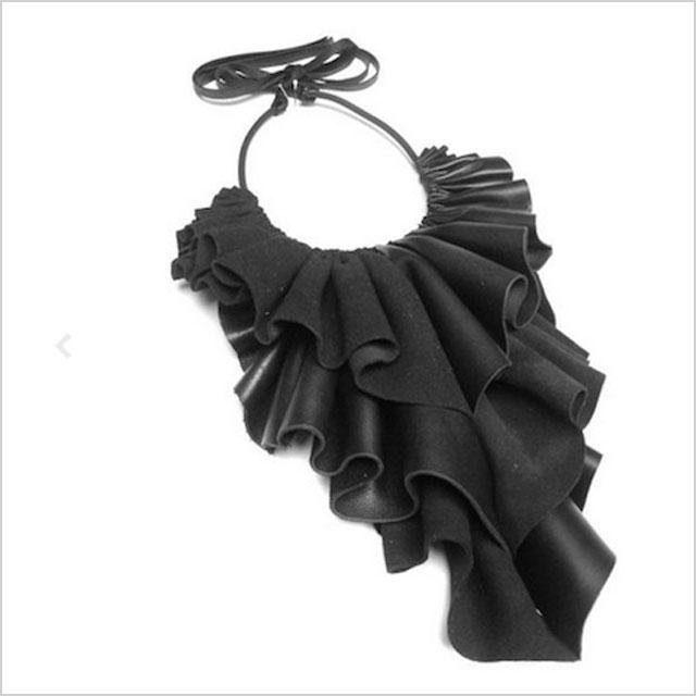 """""""Burri"""" Leather Jabot Necklace"""