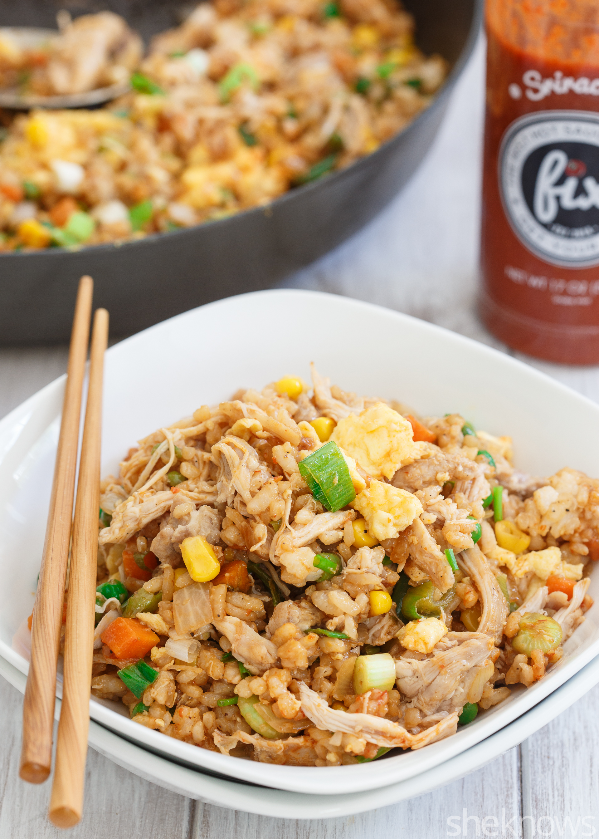 Spicy Fried Rice With Bean Sprouts, Chicken, And Peanuts Recipe ...