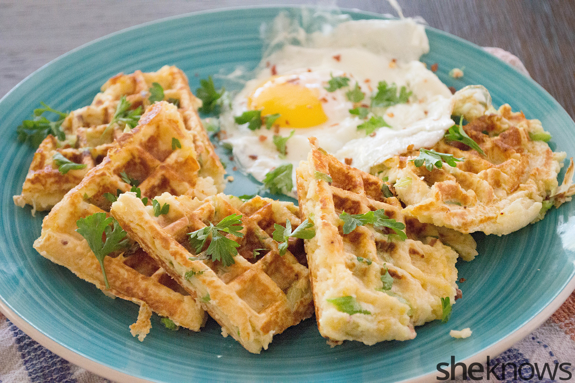... leftovers, and make these easy, cheesy, cheddar mashed potato waffles