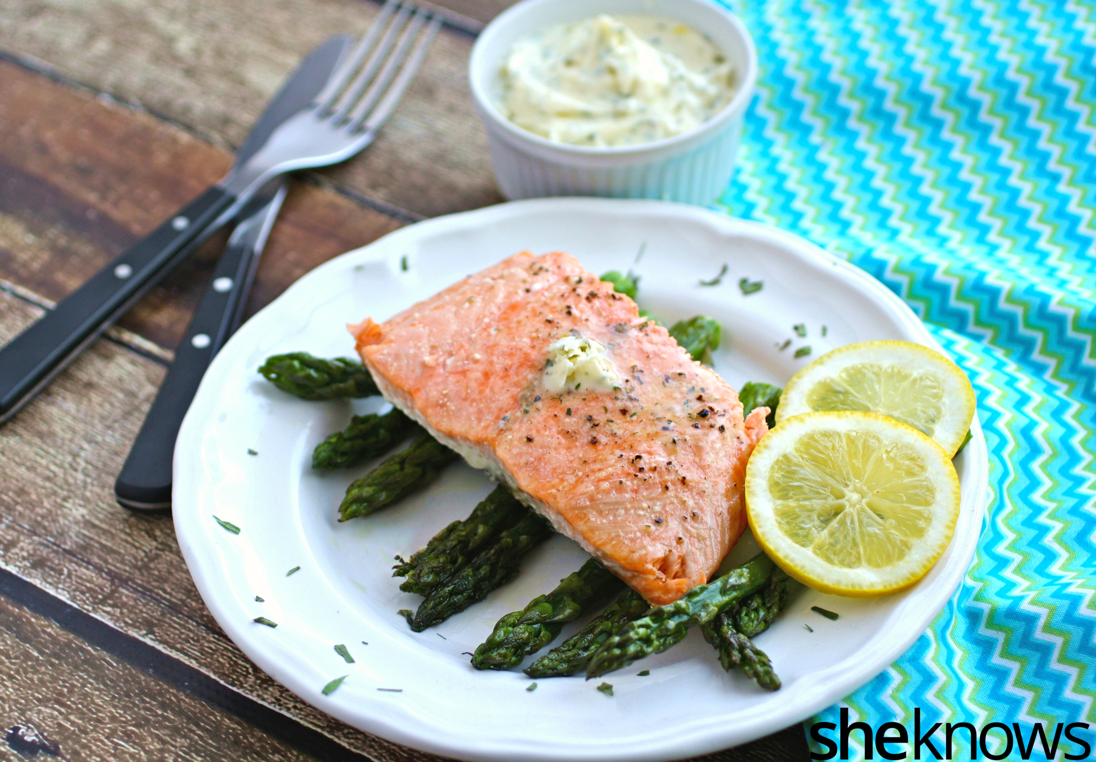 -- easy oven-baked salmon with asparagus and lemon-tarragon butter ...