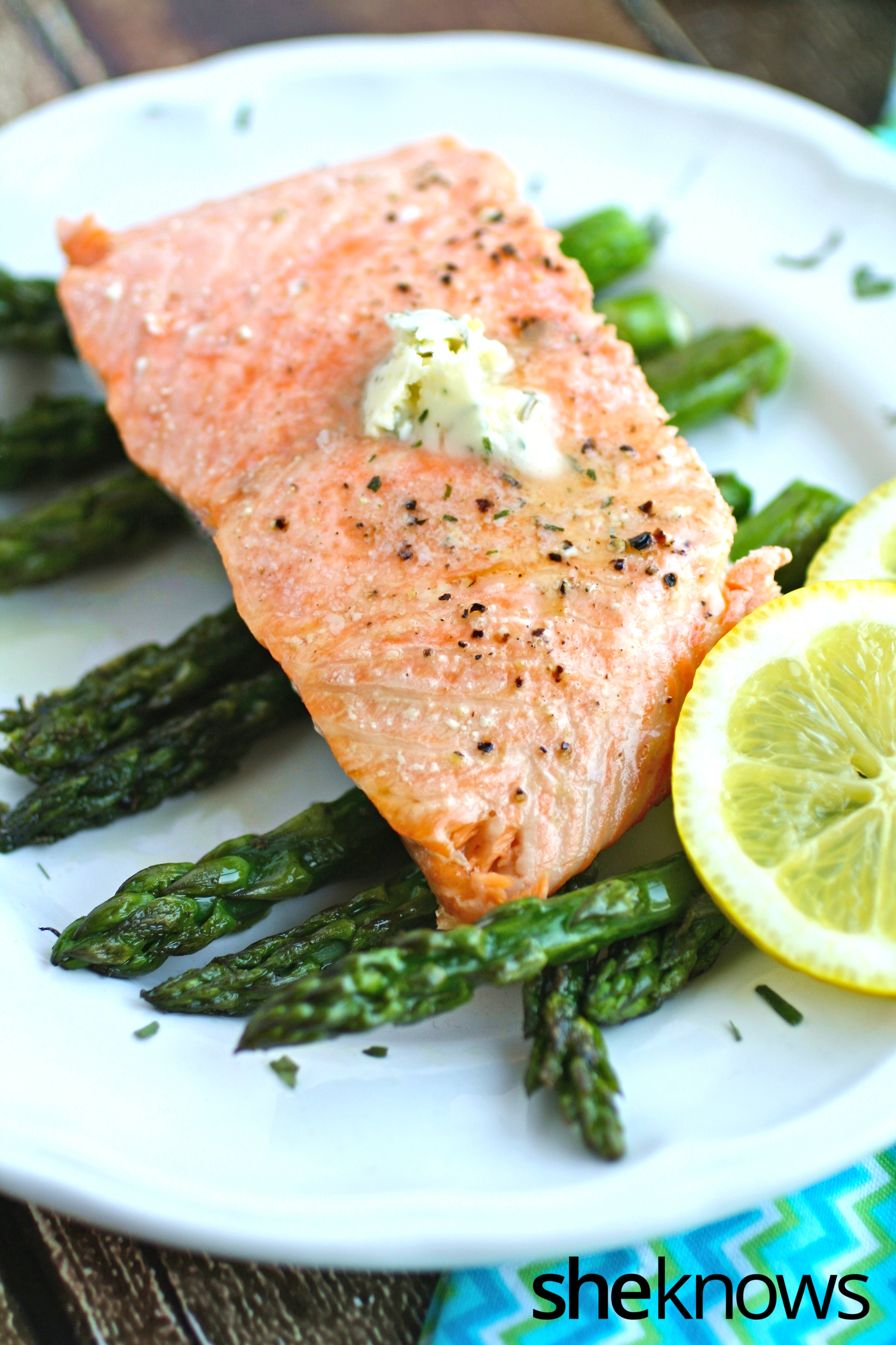 ... -baked salmon with asparagus and lemon-tarragon butter is a delight