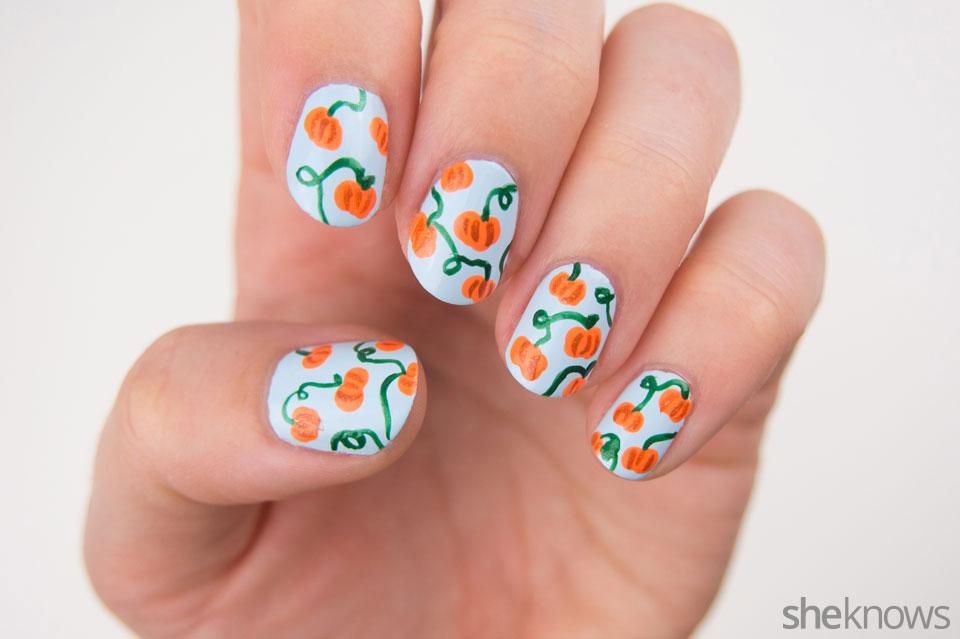 Cute pumpkin patch nail art: Step 5