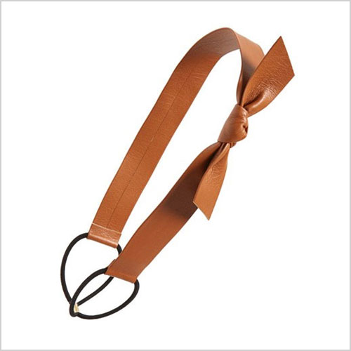 """faux-leather bow wrap in """"camel"""""""