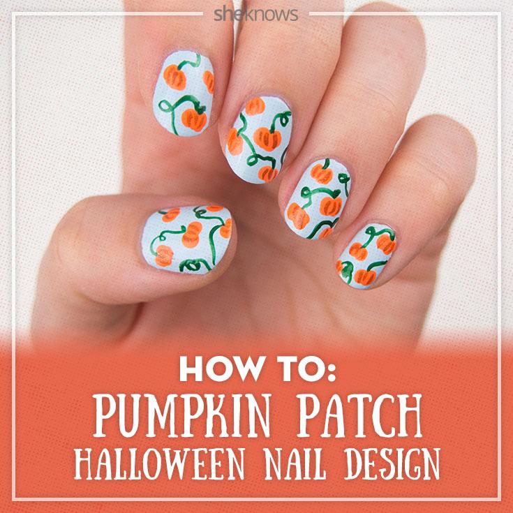 Pumpkin patch nail art tutorial
