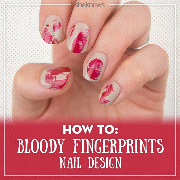 Halloween nail art inspired by bloody finger prints