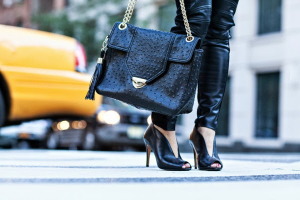 bag, heels and leggings