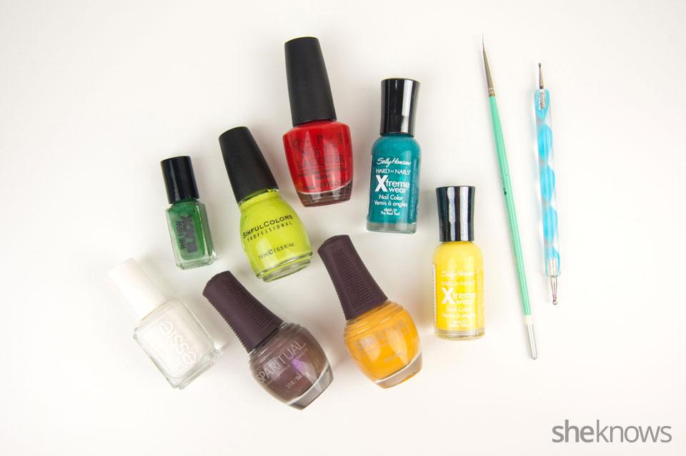 DYI tiny tacos nail art: Supplies