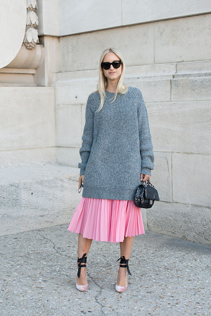 Pleated skirt with a sweater