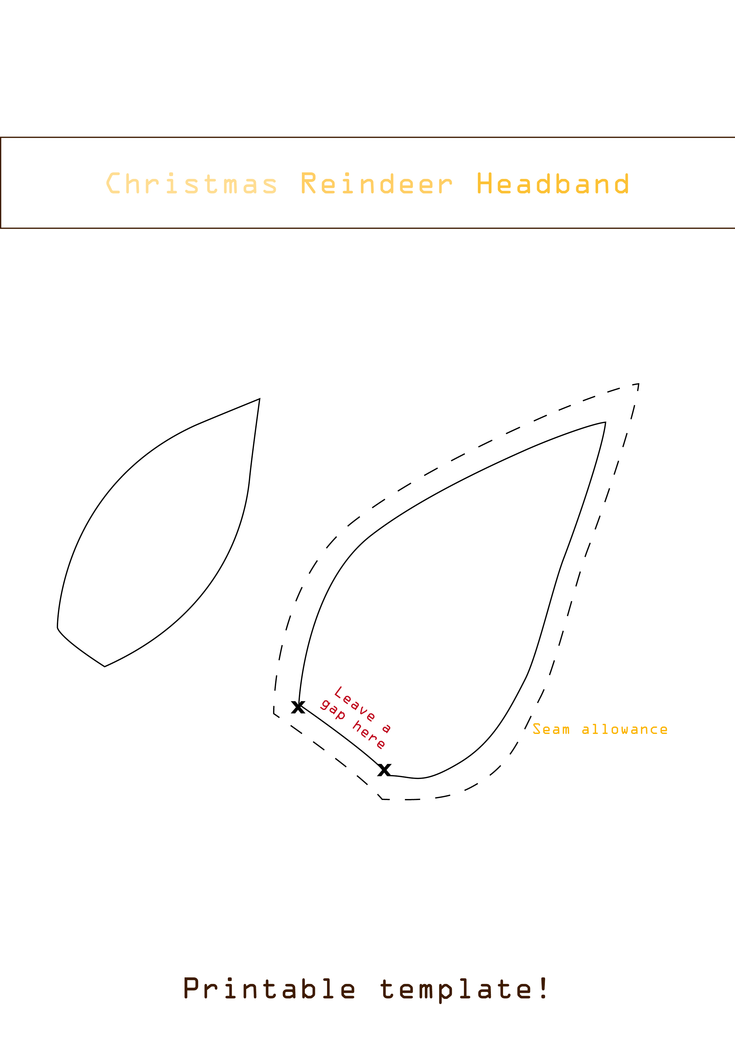 Easy diy christmas reindeer headband for your baby for Reindeer tail template