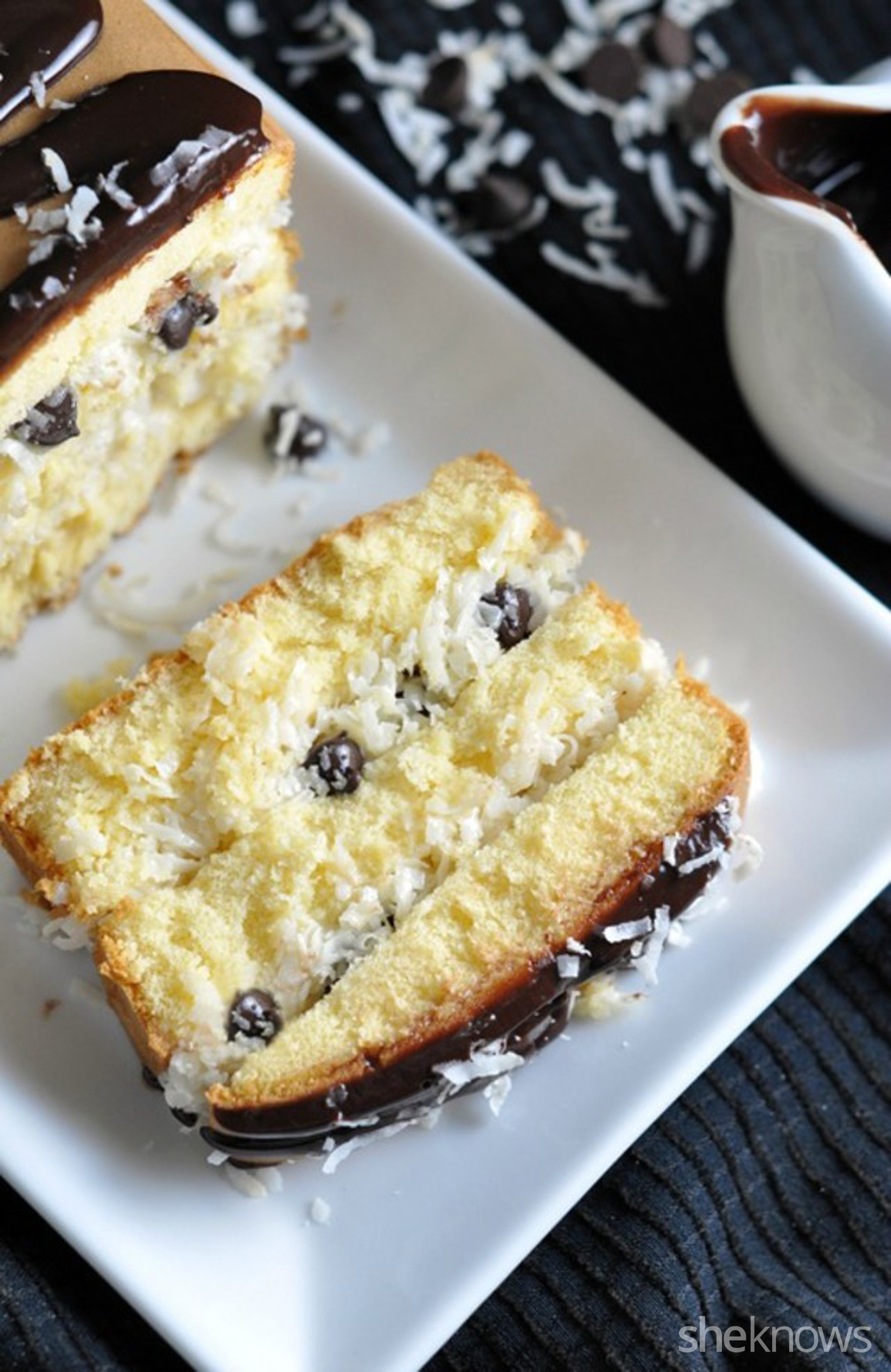 Coconut and chocolate chip layered pound cake is too good to resist