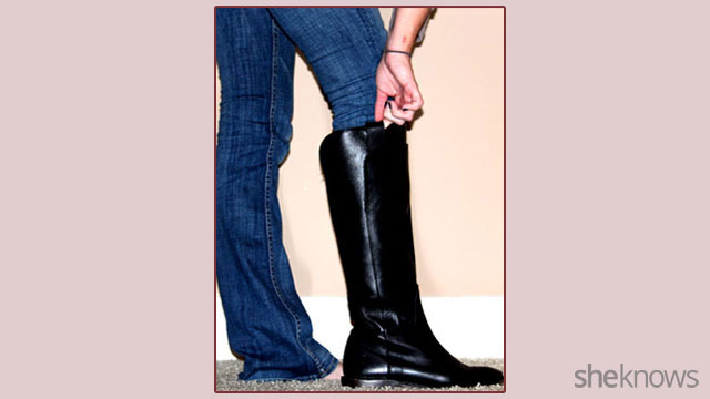 How to tuck non-skinny jeans into boots: Step 6