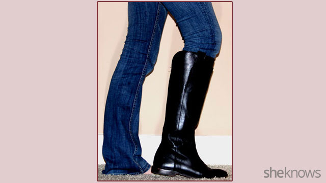 How to tuck non-skinny jeans into boots: Step 7