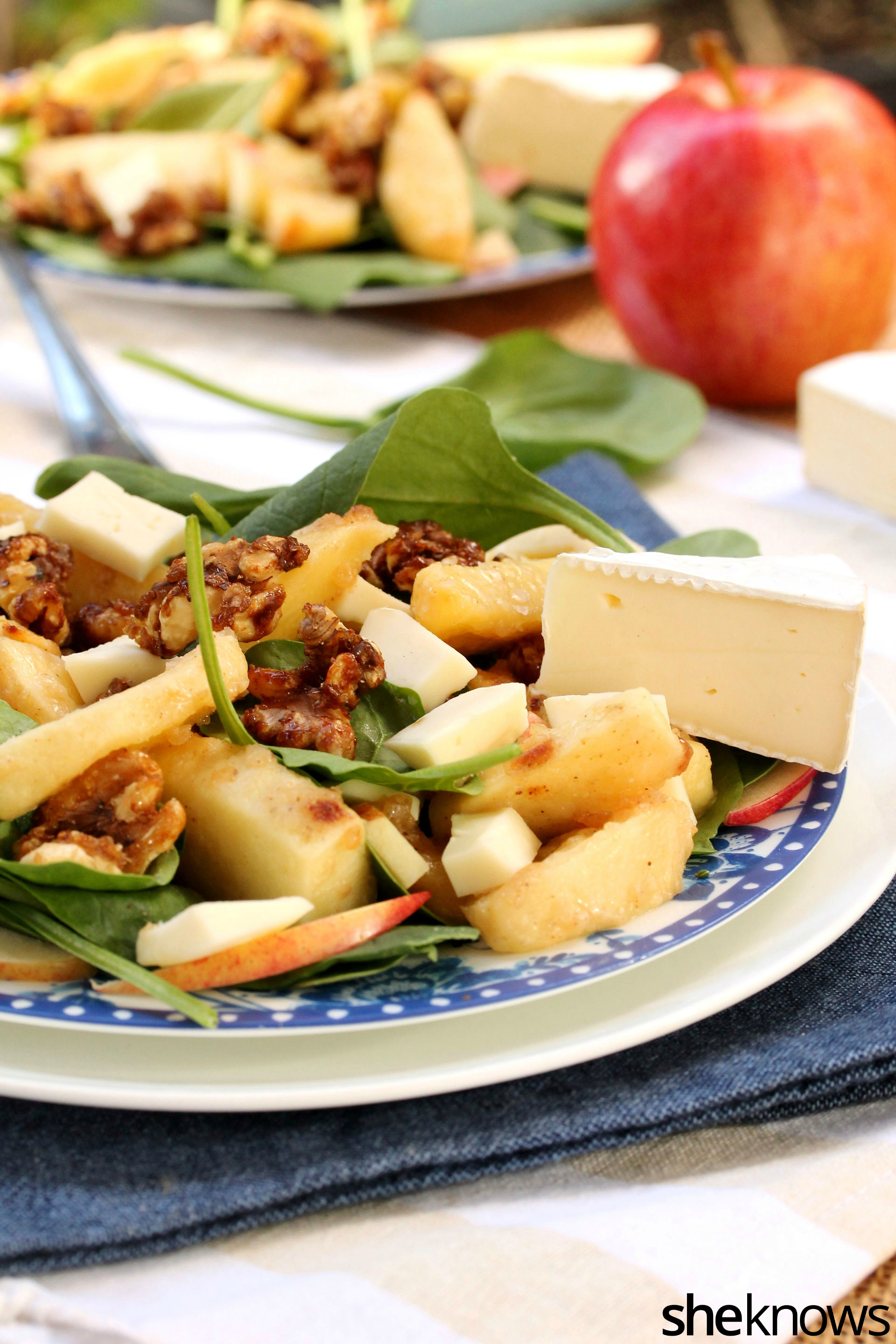 Candied walnuts, roasted apple and Brie take your spinach salad from ...