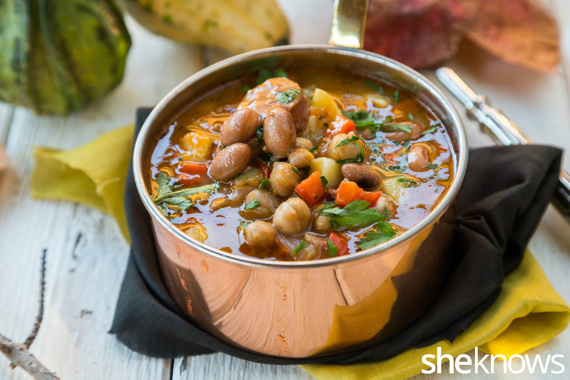 Easy one-pot soup with chickpeas, beans and chorizo gets to the table ...