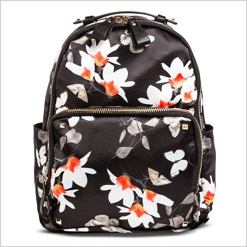 Miztique Women's Floral Print Nylon Backpack Handbag