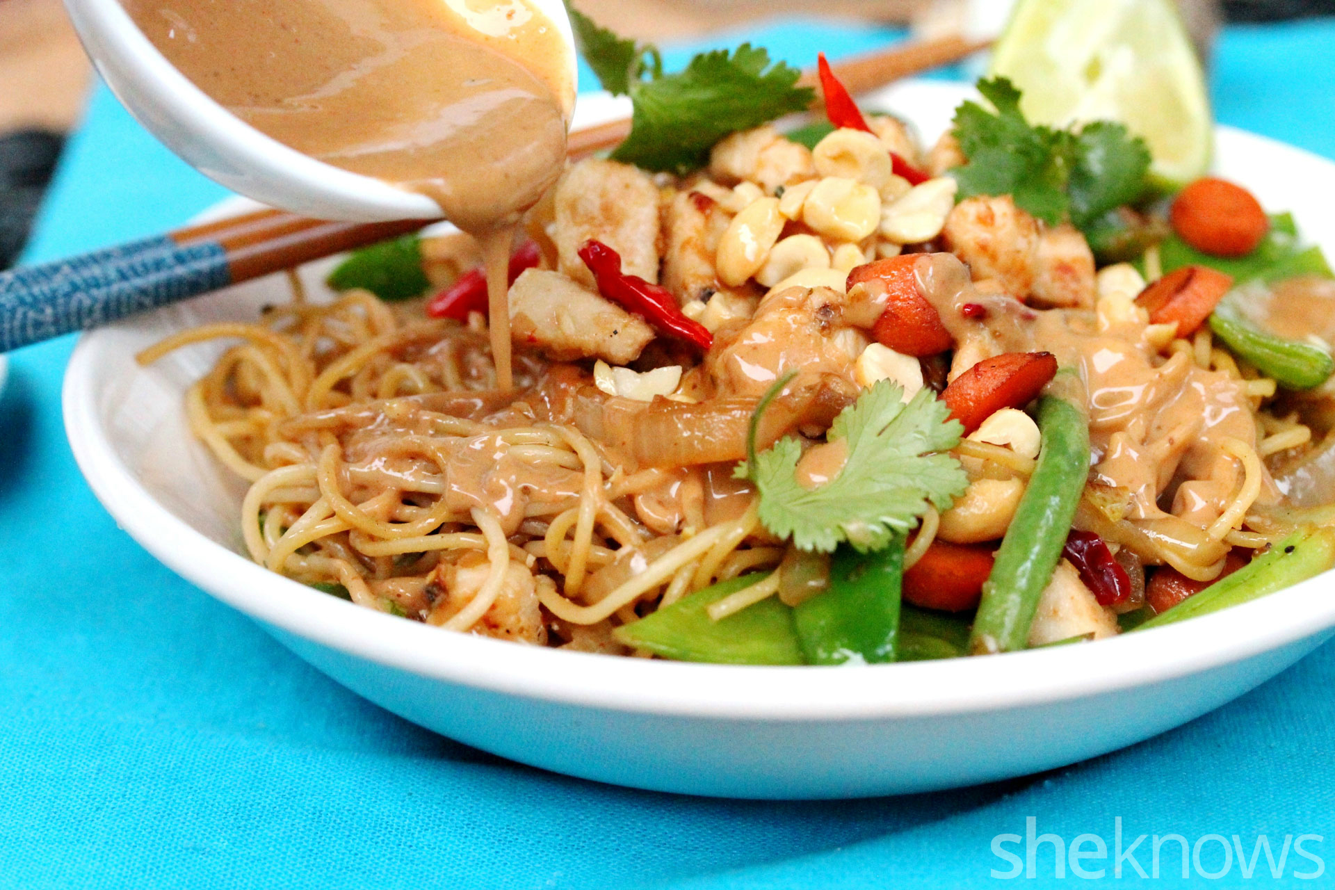 One pot wonder thai chicken and veggie noodles for an for Angel thai cuisine