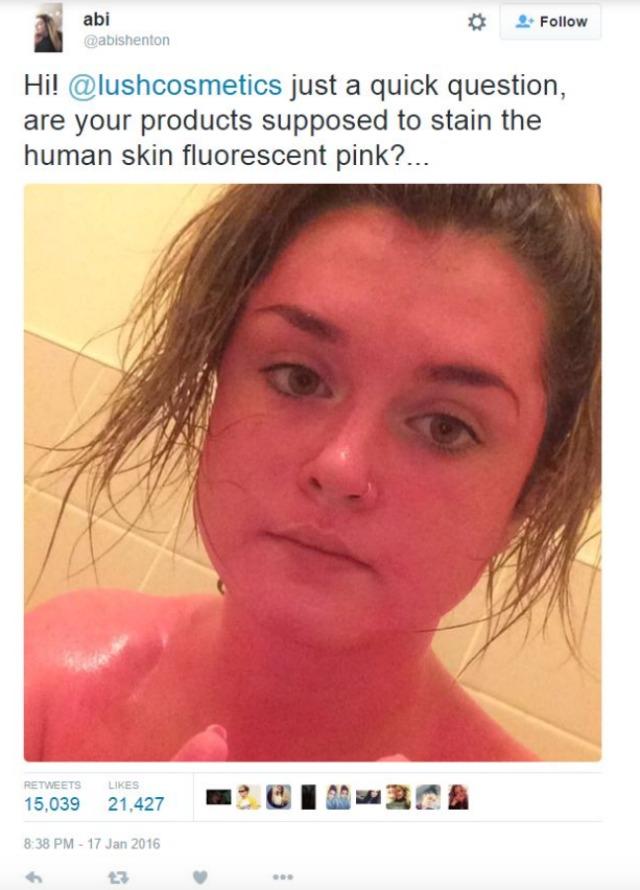 Lush Razzle Dazzle turns girl's skin pink