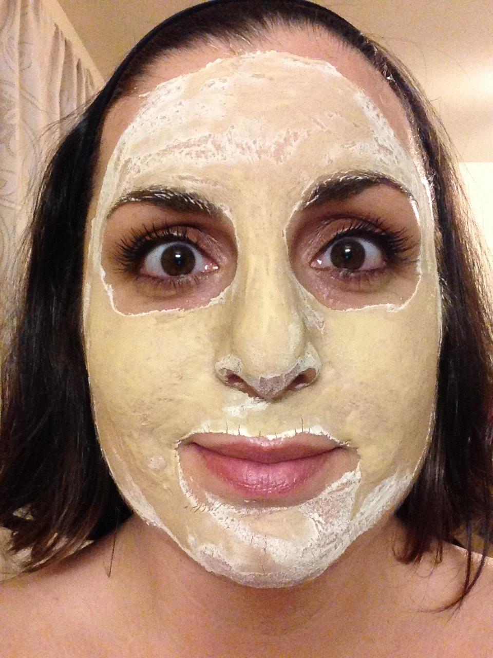Bryanne wearing the bird poop mask
