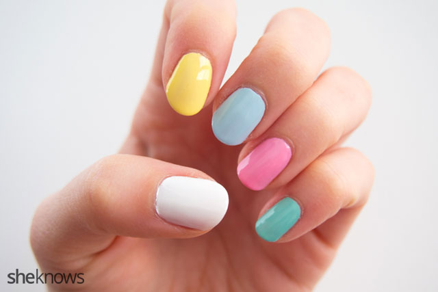 An anti-Valentine's Day nail design inspired by candy hearts