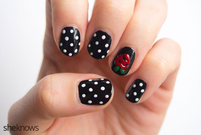 """""""Will you accept this rose"""" nail design"""