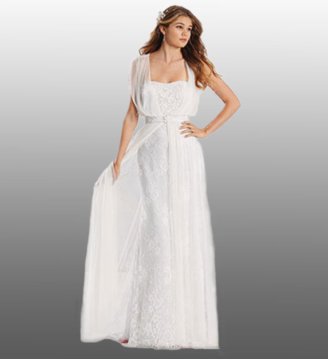 Alfred Angelo Lace Column Gown With Sleeveless Net Jacket