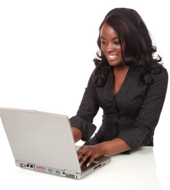 woman smiling computer laptop twitter