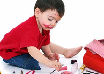Toddler with makeup