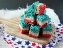 Red, white and blue layered Rice Krispies Treats say 'bam!' to your 4th