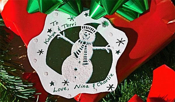 christmas card gift tag