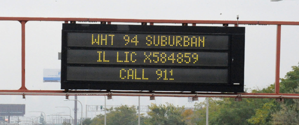 Amber Alert sign outside Chicago