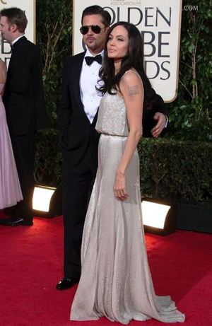 Angie and Brad at the Golden Globe Awards