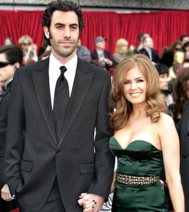 Fisher and husband Sasha Baron Cohen