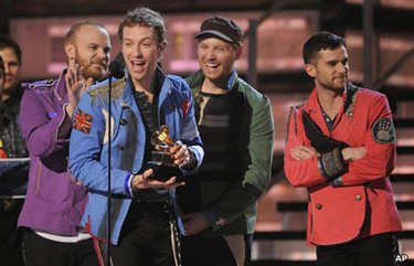 Just one of Coldplay's many wins on Grammy night