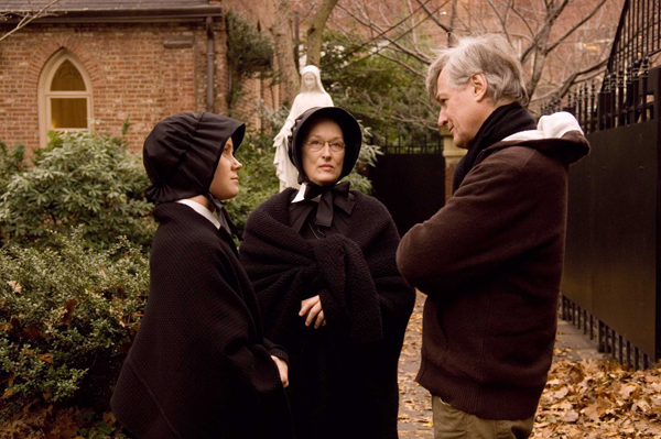 Three of Doubt's braintrust: Adams, Streep and writer-director Shanley