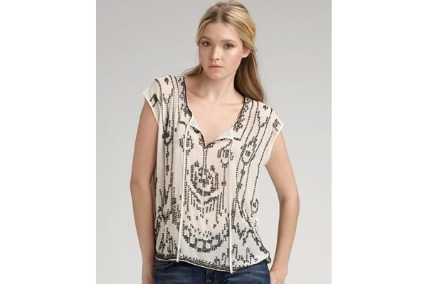 Gryphon Beaded Silk Top