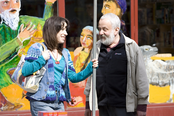 Sally Hawkins and director Mike Leigh have a laugh