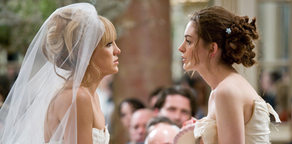 Kate Hudson and Anne Hathaway have a bridal staring contest. Bride Wars is ...