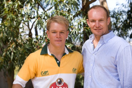 Matt Damon and the man he plays, Francois Pienaar, in Clint Eastwood's Invictus