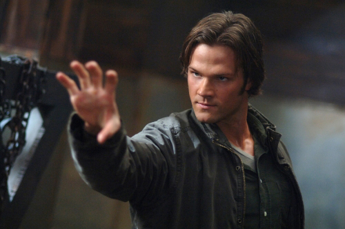 Jared Padalecki strikes a pose on Supernatural