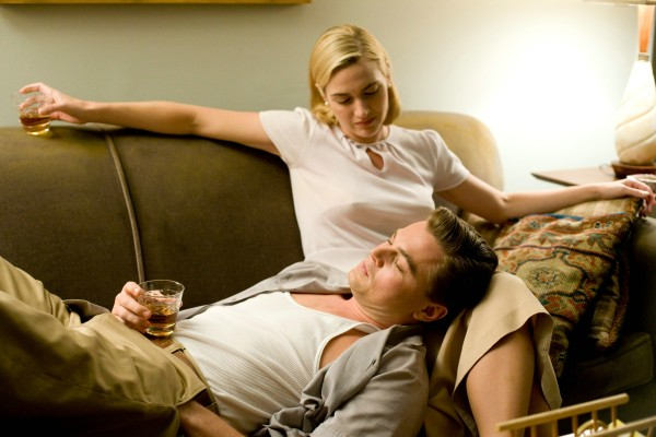 Kate Winslet and Leonardo DiCaprio have a drink in Revolutionary Road