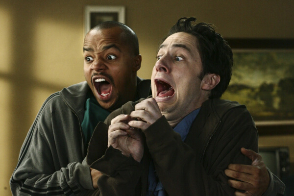 Zach Braff and Donald Faison have a laugh, or are they?