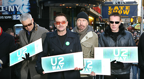 "new york city street signs. Frontman Bono says, ""New York"