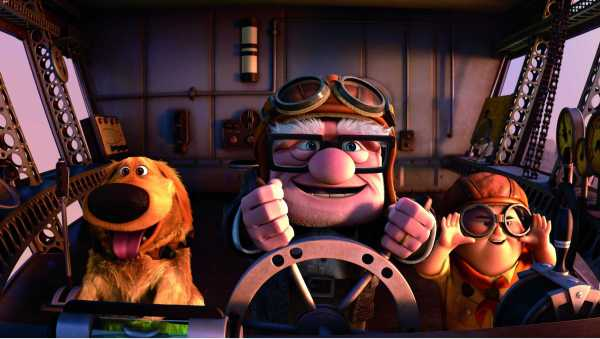 Dug the dog, Carl and Russell head for the sky in Up