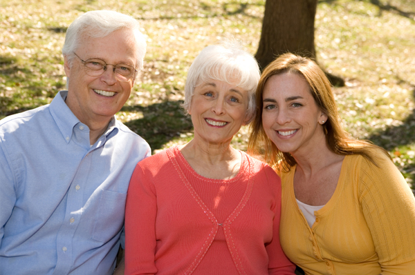 Adult Woman with Senior Parents
